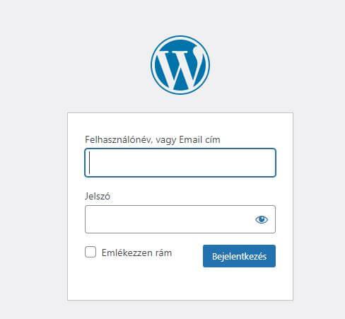 WordPress admin belépés