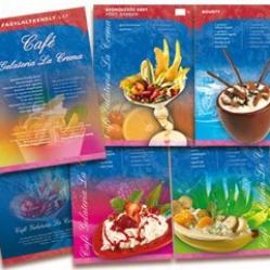 Étlap tervezése, fagylaltozó desszertlap készítése