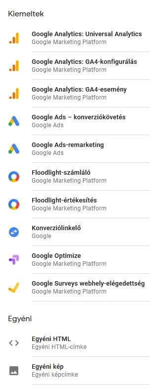 Google Címkekezelő, címketípusok