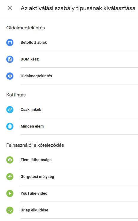 Google Tag Manager, aktiválási szabály