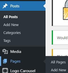 új oldal, bejegyzés létrehozása